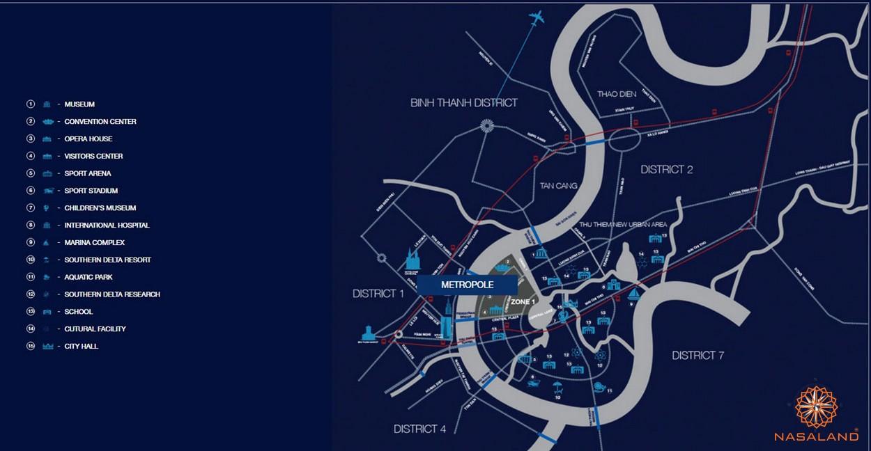 Vị trí dự án The Metropole Thủ Thiêm quận 2