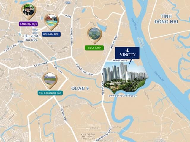 vị trí dự án căn hộ Vinhomes Quận 9