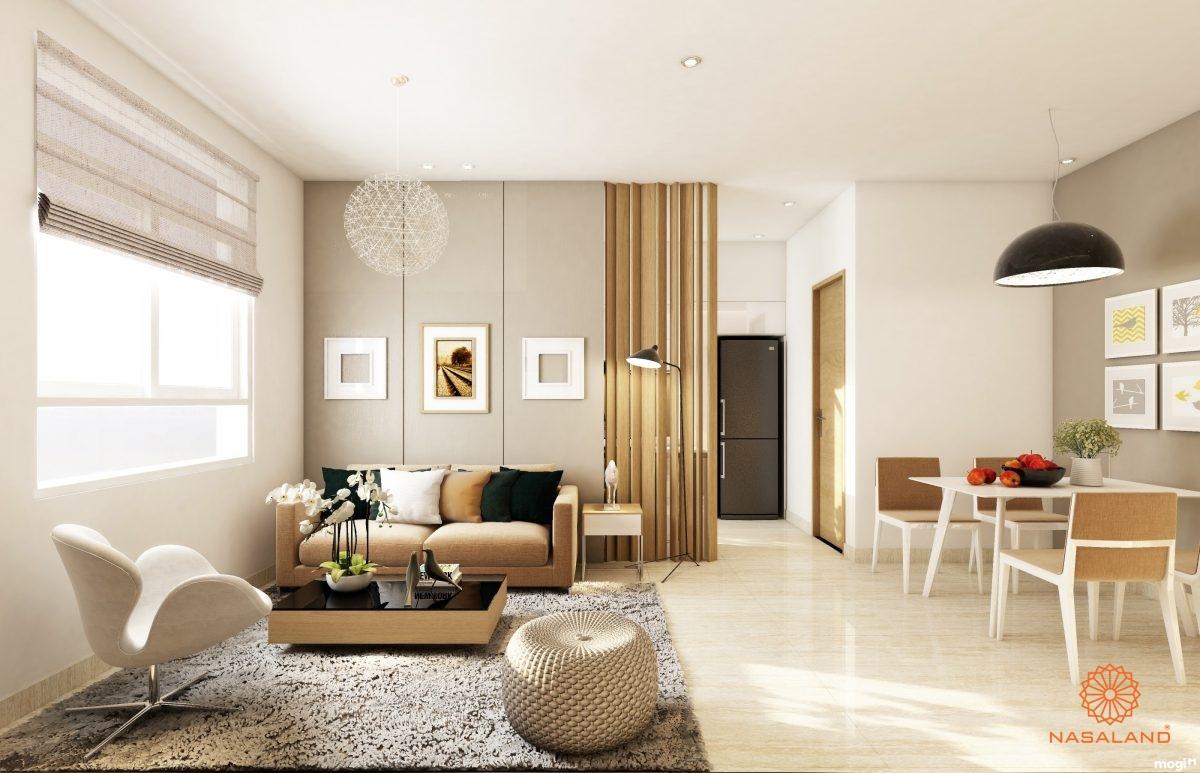 Thiết kế phòng khách bên trong dự án căn hộ Laimian City quận 2