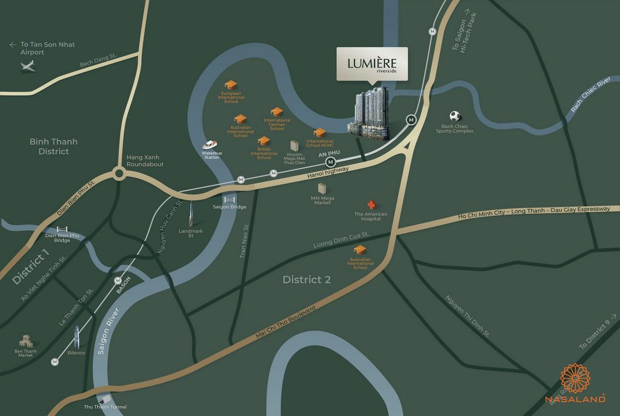 Vị trí dự án căn hộ Masteri Lumiere Riverside quận 2