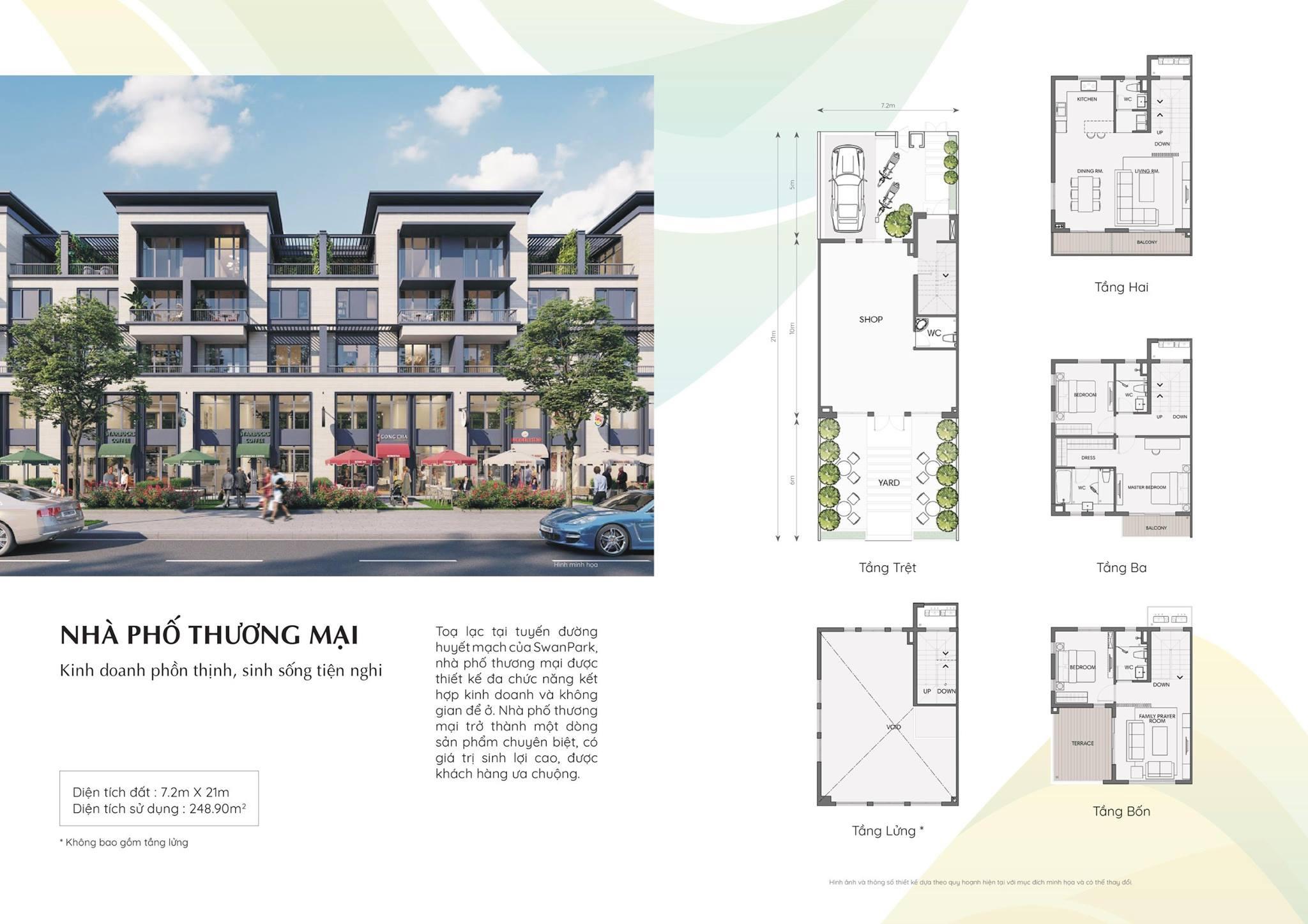Mặt bằng nhà phố thương mại của dự án Swan Park Nhơn Trạch