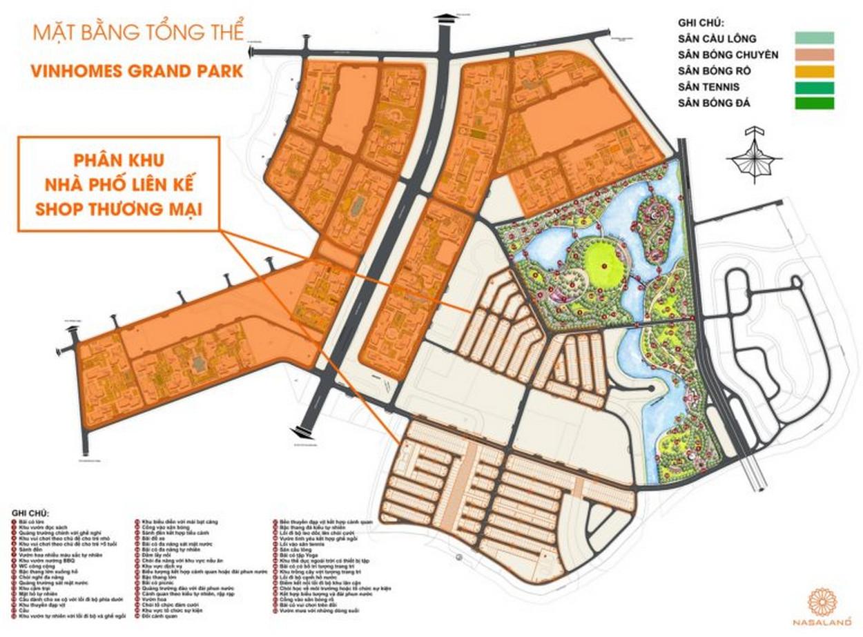 Mặt bằng khu nhà phố thấp tầng Vinhomes Grand Park Quận 9 tại KDT Vinhomes Grand Park Quận 9