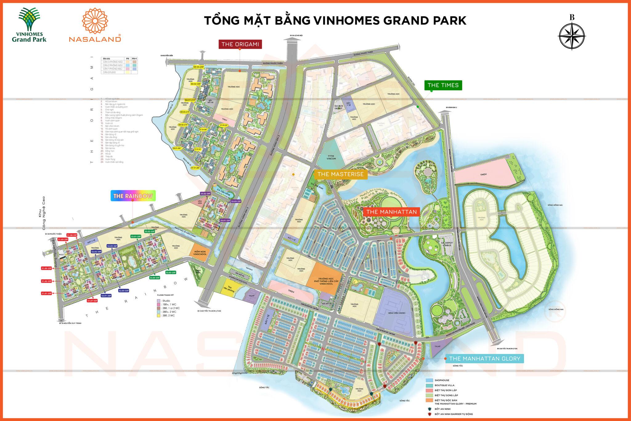 Mặt bằng dự án khu đô thị Vinhomes Grand Park