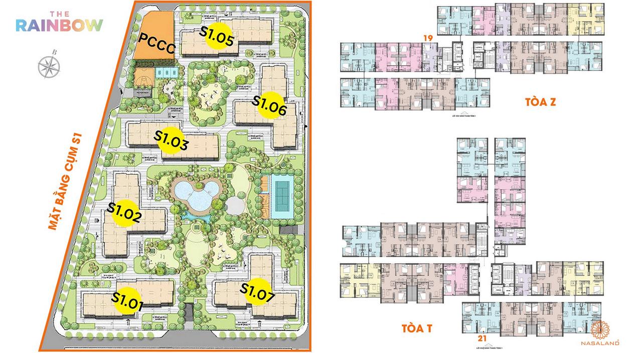 Mặt bằng cụm S1 dự án căn hộ chung cư The Rainbow Vinhomes Grand Park Quận 9