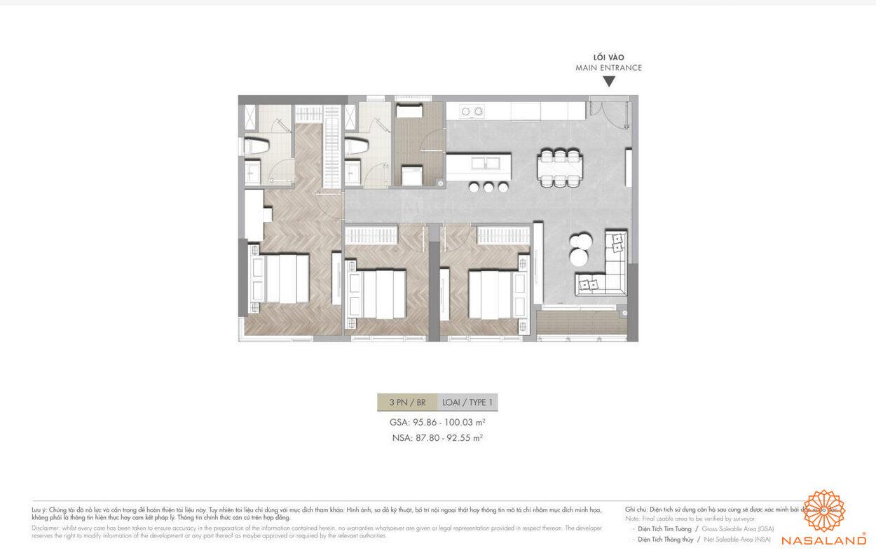Mặt bằng dự án căn hộ 3PN  Masterise Grand Park quận 9