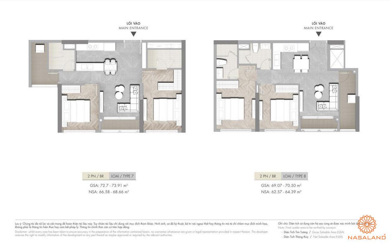 Mặt bằng dự án căn hộ 2PN Masterise Grand Park q9