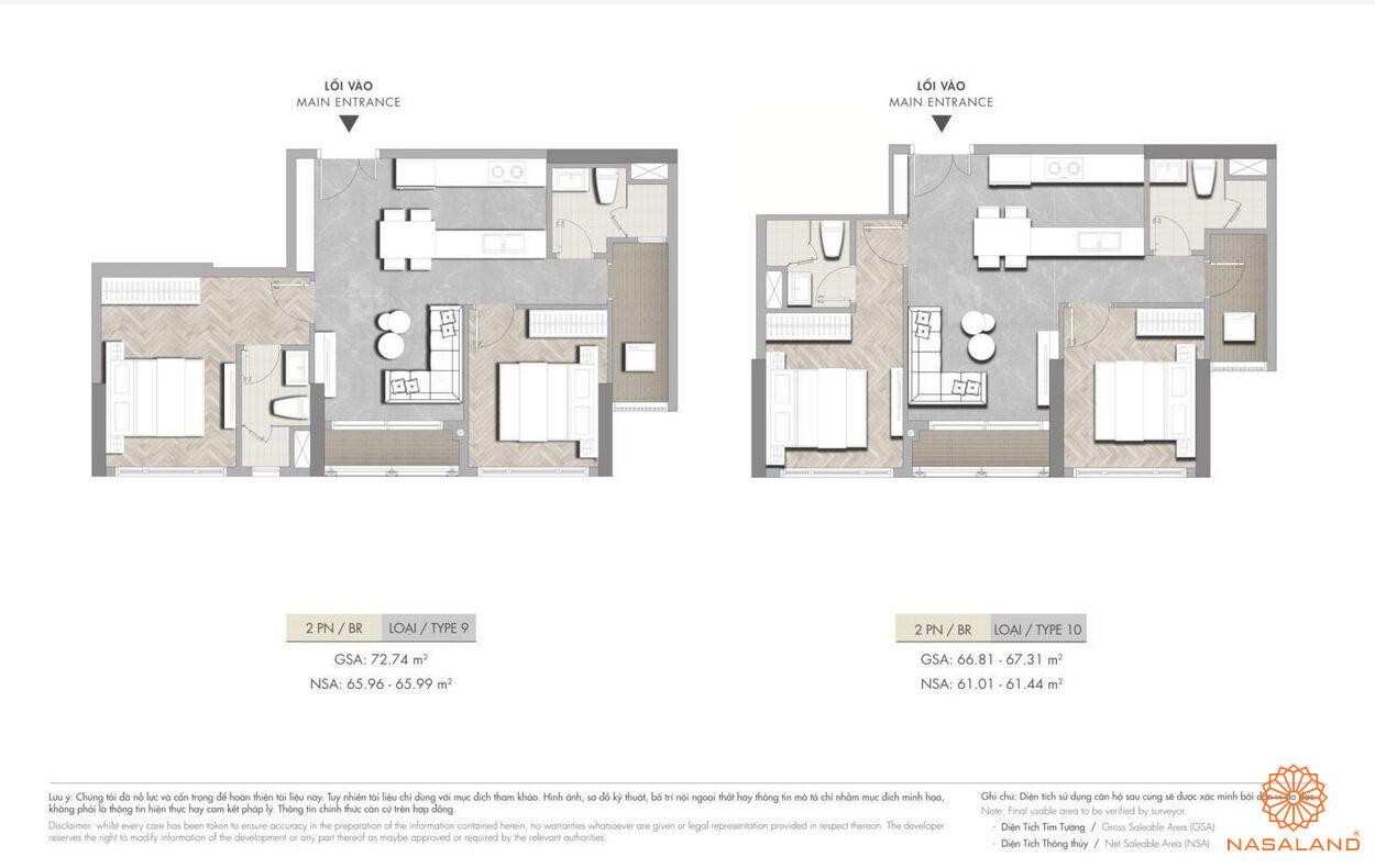 Mặt bằng dự án căn hộ 2PN Masterise Grand Park quận 9