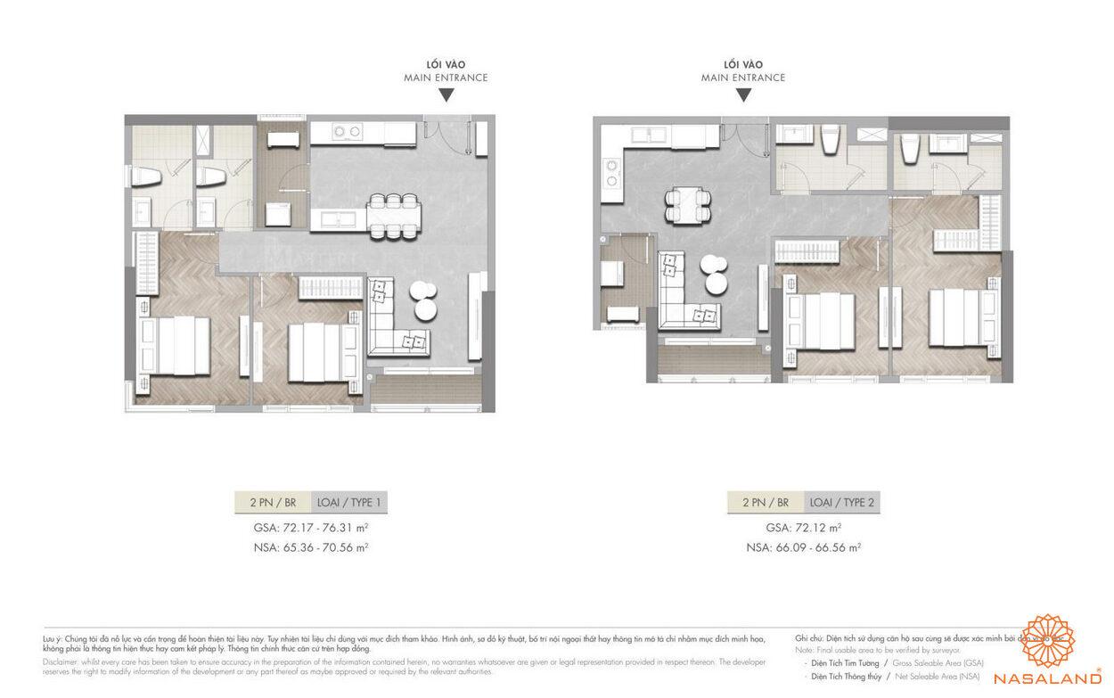 Mặt bằng căn hộ 2PN Masterise Grand Park q9