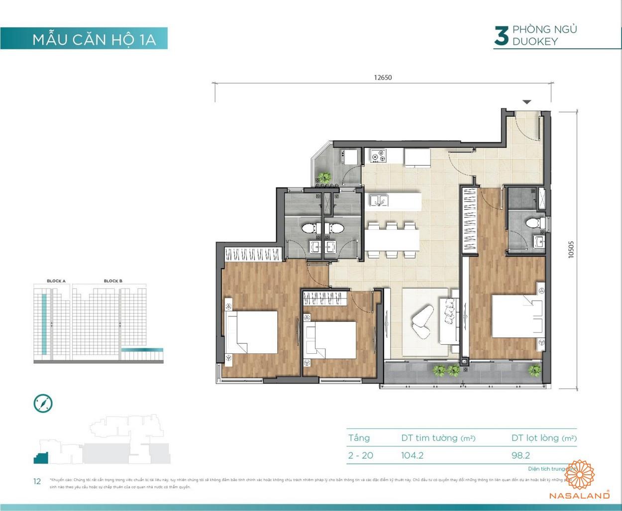 Thiết kế căn hộ 3PN Duokey D'lusso Emerald Quận 2 đường Nguyễn Thị Định chủ đầu tư Điền Phúc Thành