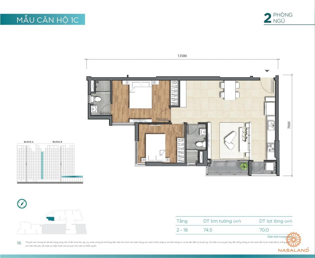 Thiết kế căn hộ 2PN D'lusso Emerald Quận 2 đường Nguyễn Thị Định chủ đầu tư Điền Phúc Thành