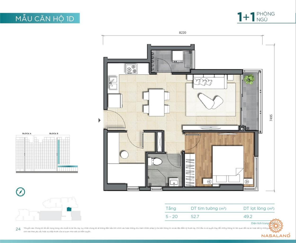 Thiết kế căn hộ 1PN+1 D'lusso Emerald Quận 2 đường Nguyễn Thị Định chủ đầu tư Điền Phúc Thành