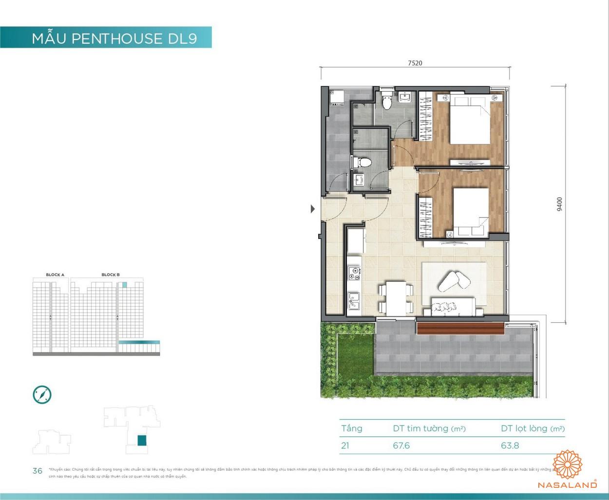 Thiết kế căn hộ Duplex Penthouse D'lusso Emerald Quận 2 đường Nguyễn Thị Định chủ đầu tư Điền Phúc Thành