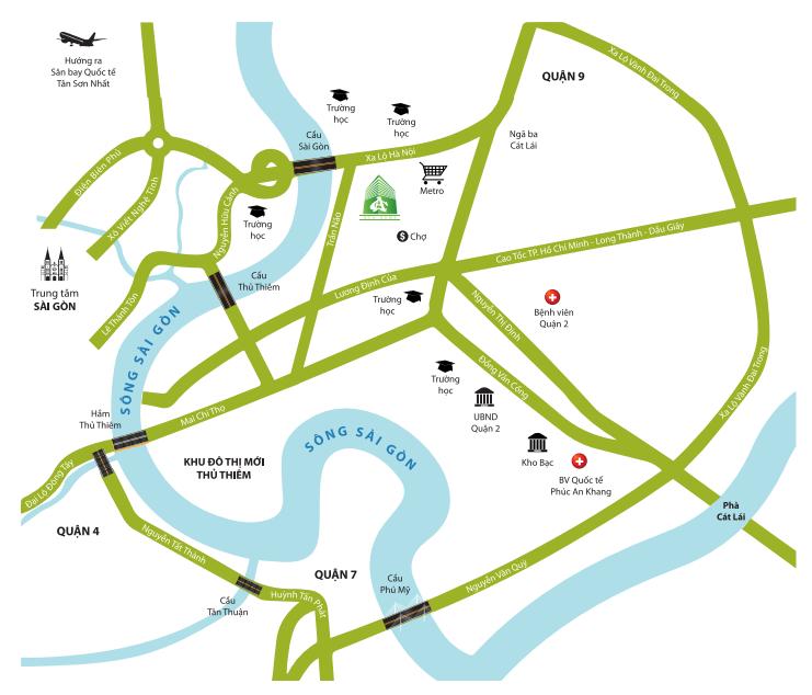 Vị trí địa chỉ dự án căn hộ Chung Cư Bộ Công An Quận 2 đường chủ đầu tư Phú Cường Group