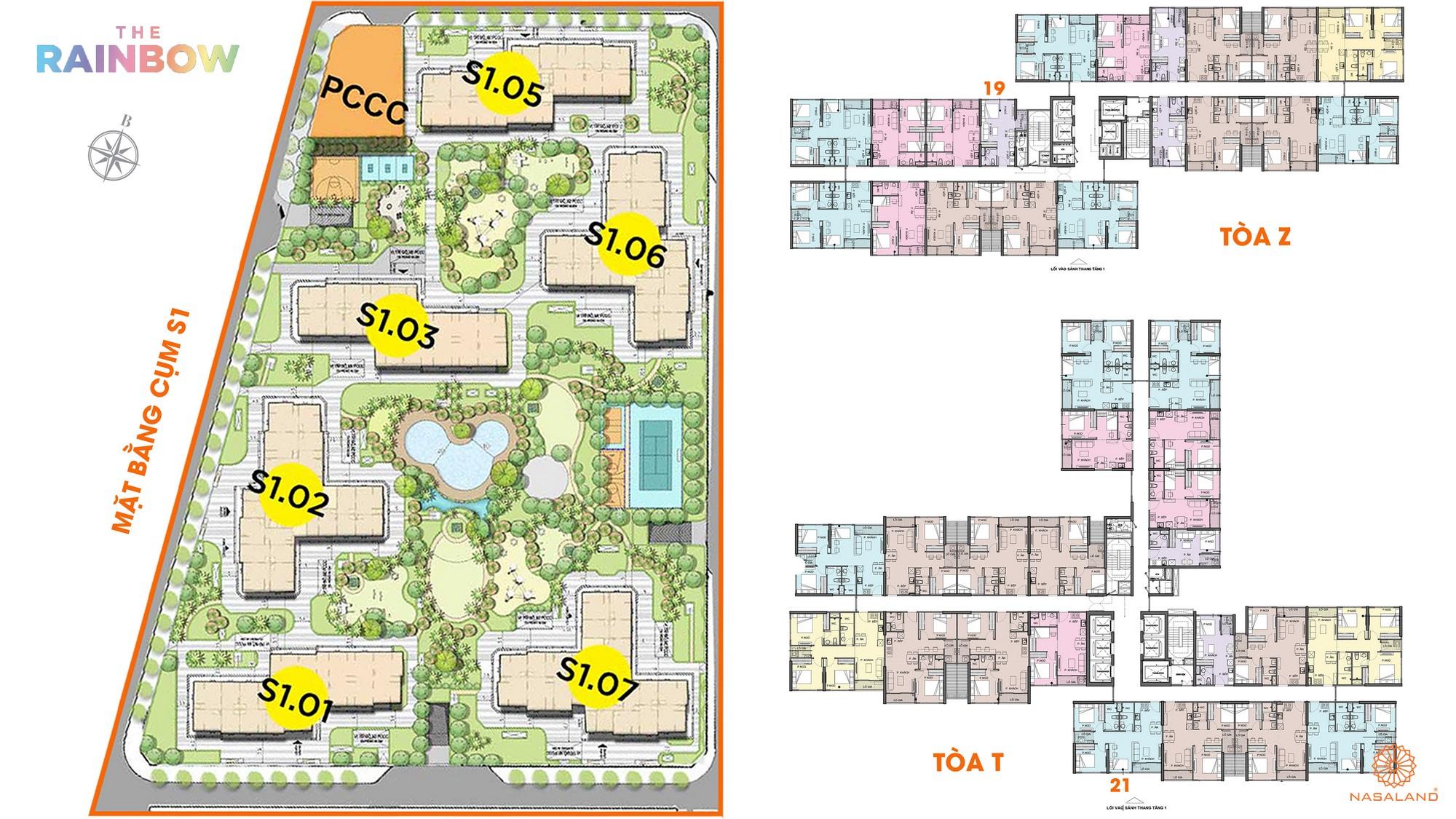 Mặt bằng cụm S1 phân khu The Rainbow dự án Vinhomes Grand Park Quận 9