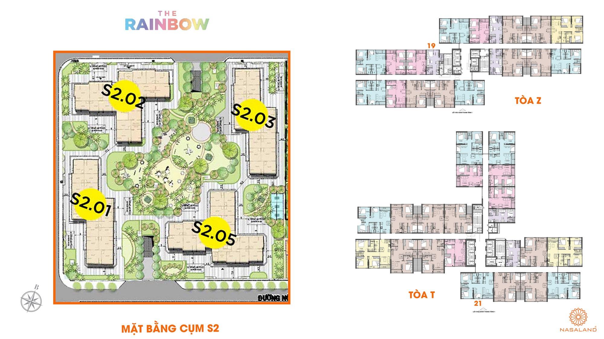 Mặt bằng cụm S2 dự án căn hộ chung cư The Rainbow Vinhomes Grand Park Quận 9