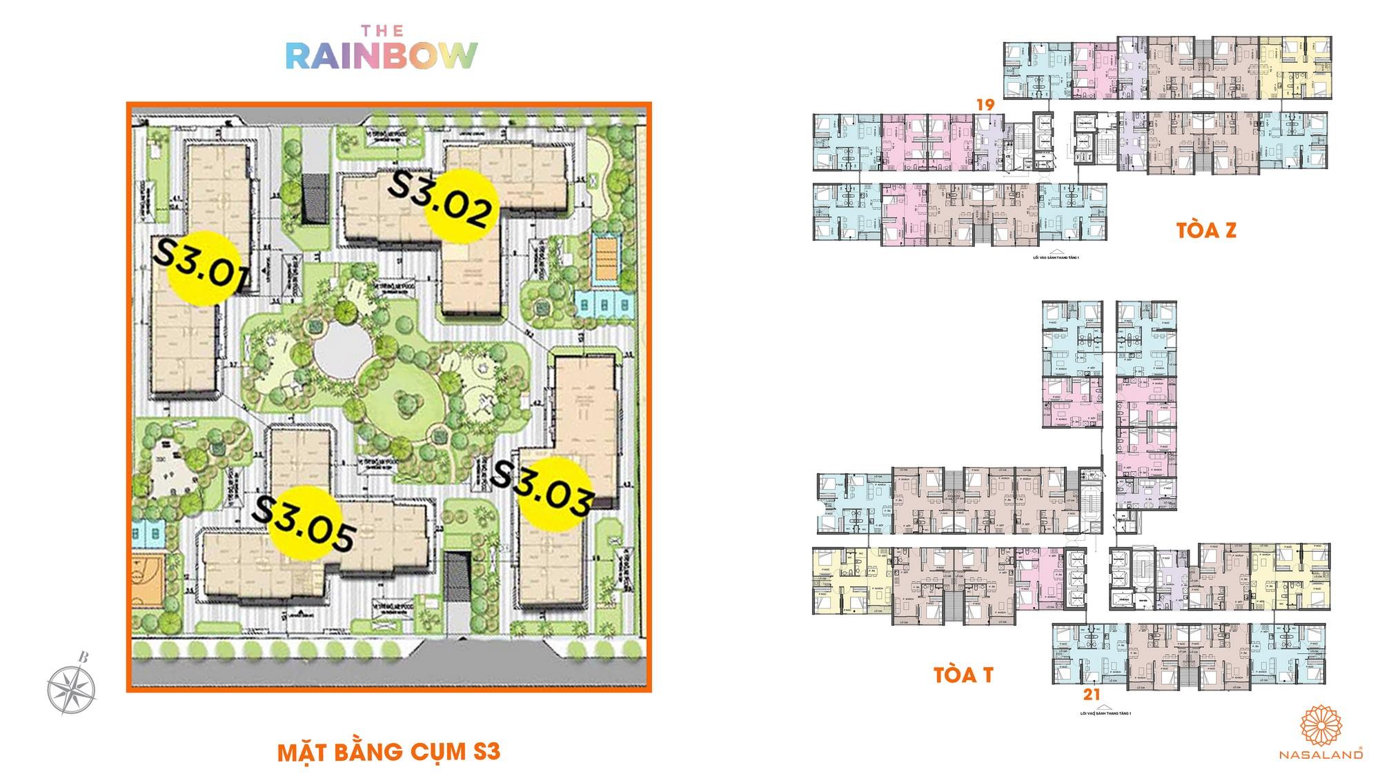 Mặt bằng cụm S3 dự án căn hộ chung cư The Rainbow Vinhomes Grand Park Quận 9