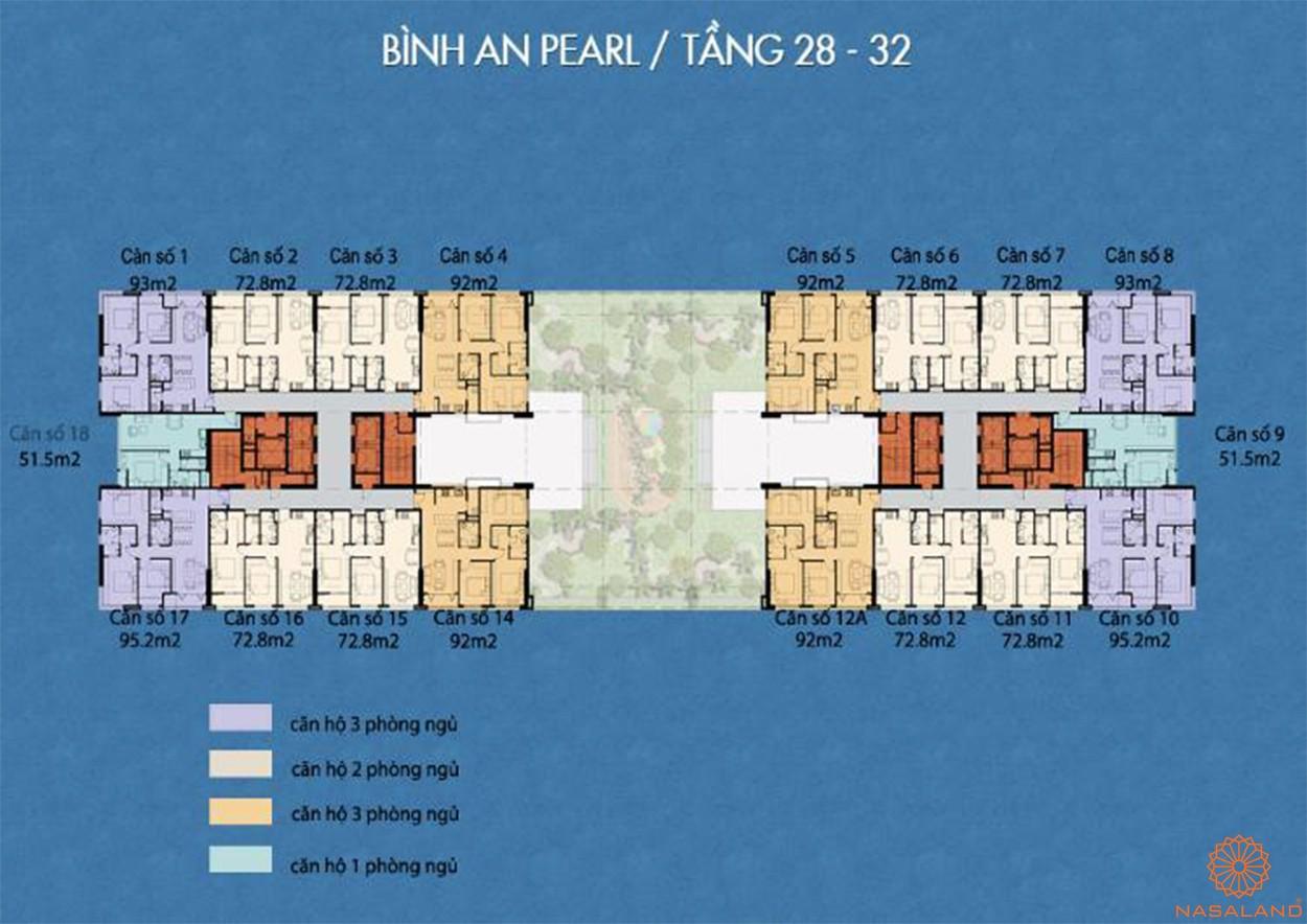 Mặt bằng tấng 28 - 32 dự án Bình An Pearl quận 2