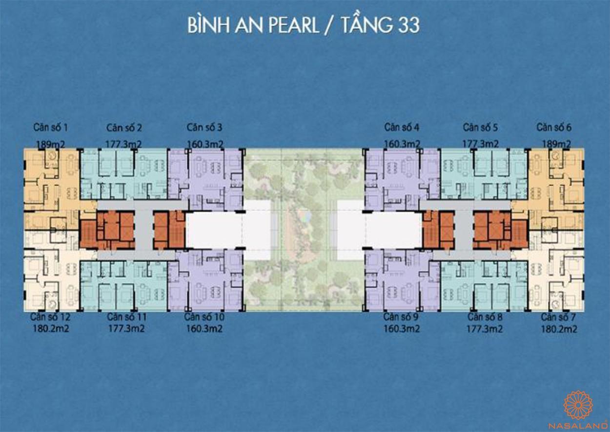 Mặt bằng tấng 33 dự án Bình An Pearl quận 2