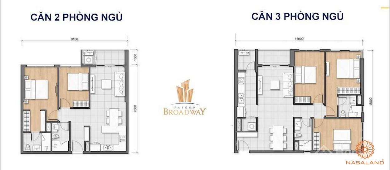 Mặt bằng điển hình căn hộ 2 loại phòng ngủ