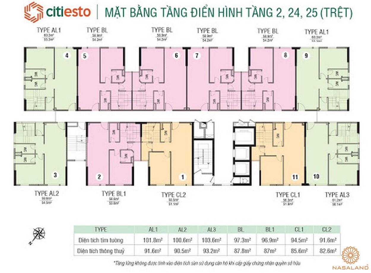 Mặt bằng tầng căn hộ dự án CitiEsto