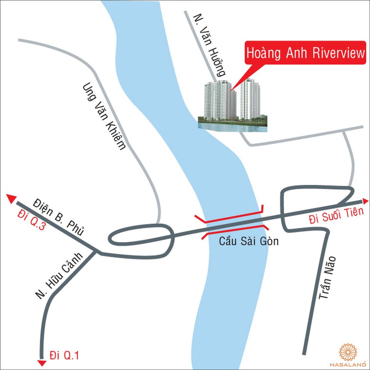 Vị trí địa chỉ dự án căn hộ Hoàng Anh Riverview Quận 2 đường 37 Nguyễn Văn Hưởng chủ đầu tư Hoàng Anh Gia Lai
