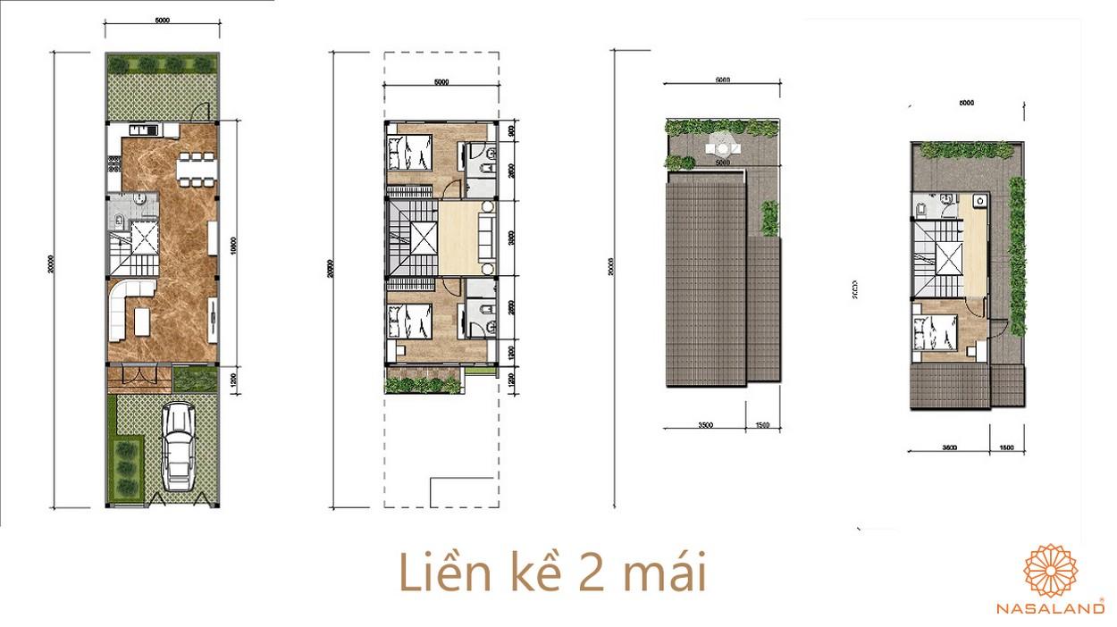 layout nhà liền kề 2 mái