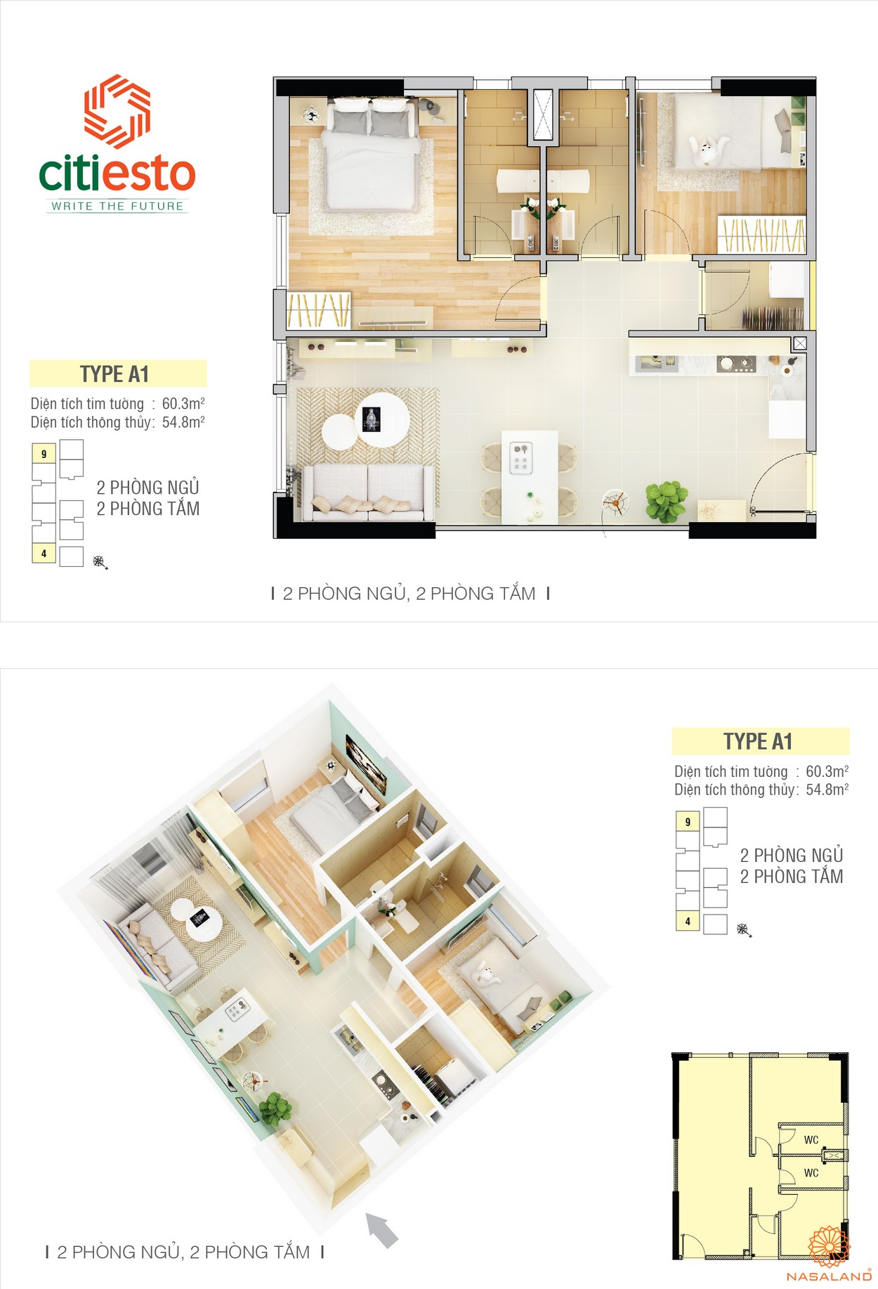 Thiết kế điển hình dự án căn hộ CitiEsto căn 2PN