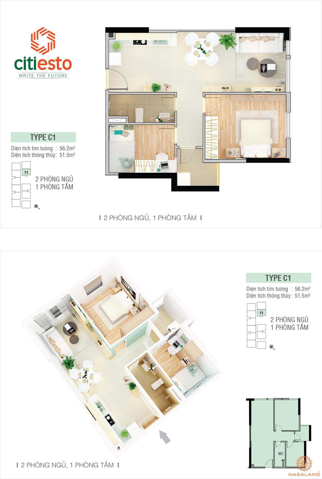 Thiết kế điển hình căn hộ CitiEsto 2PN