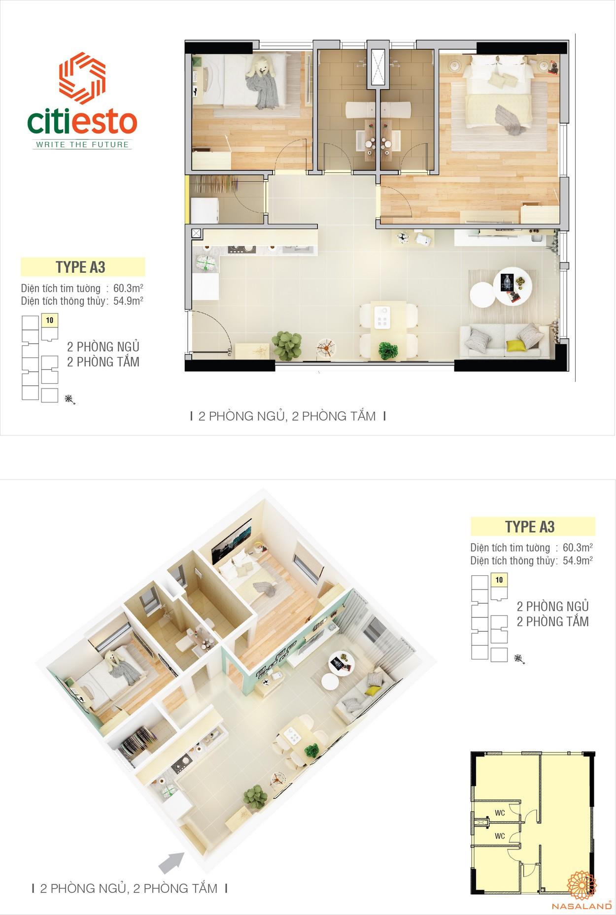 Thiết kế điển hình căn hộ CitiEsto căn 2PN