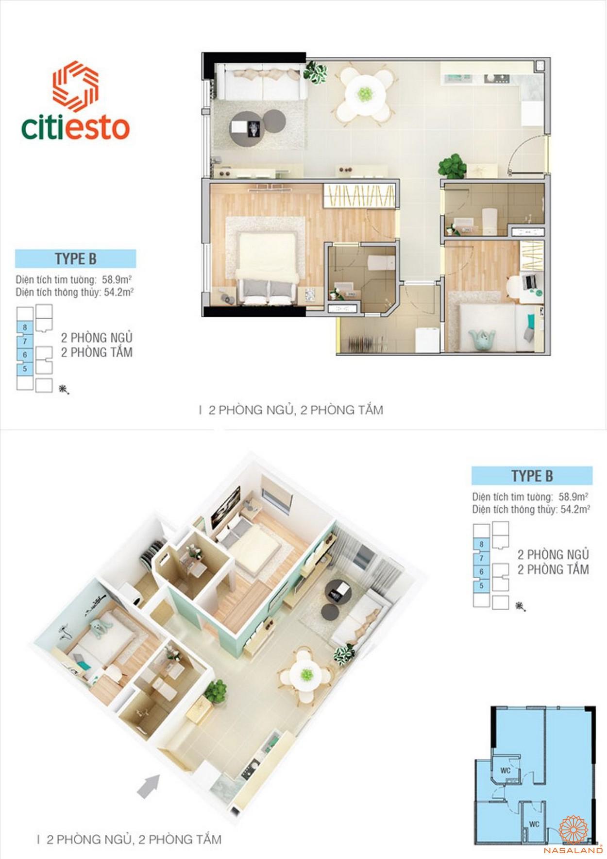 Thiết kế điển hình của căn hộ CitiEsto 2PN