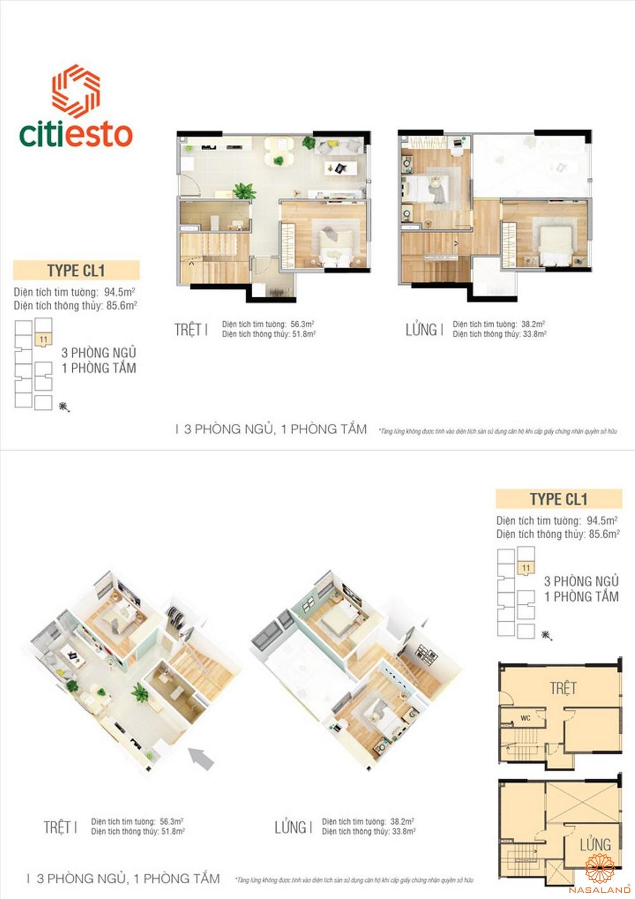 Thiết kế điển hình căn hộ CitiEsto