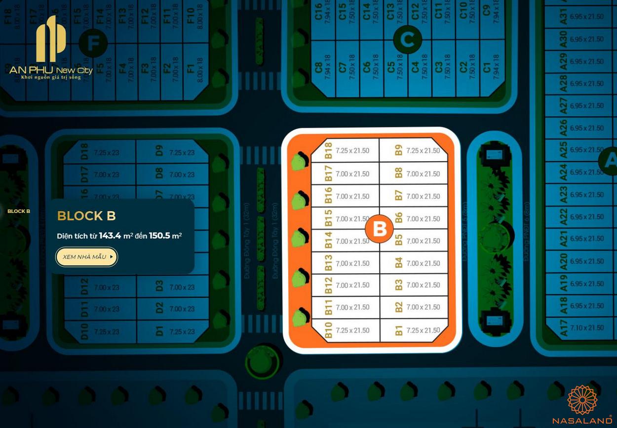 Mặt bằng tổng thể block B căn hộ An Phú New City