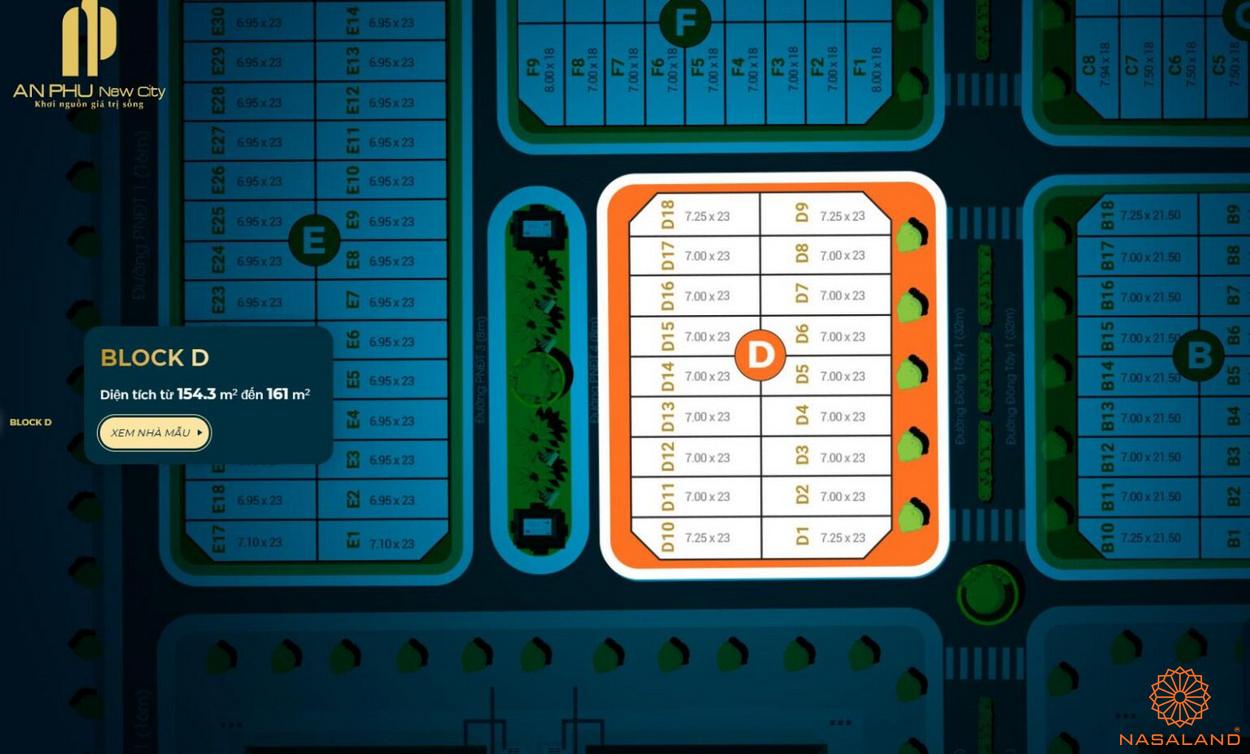 Mặt bằng tổng thể block D căn hộ An Phú New City