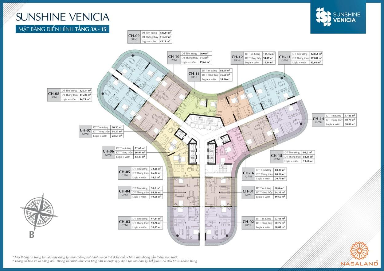 Mặt bằng điển hình chung cư Sunshine Venicia Quận 2