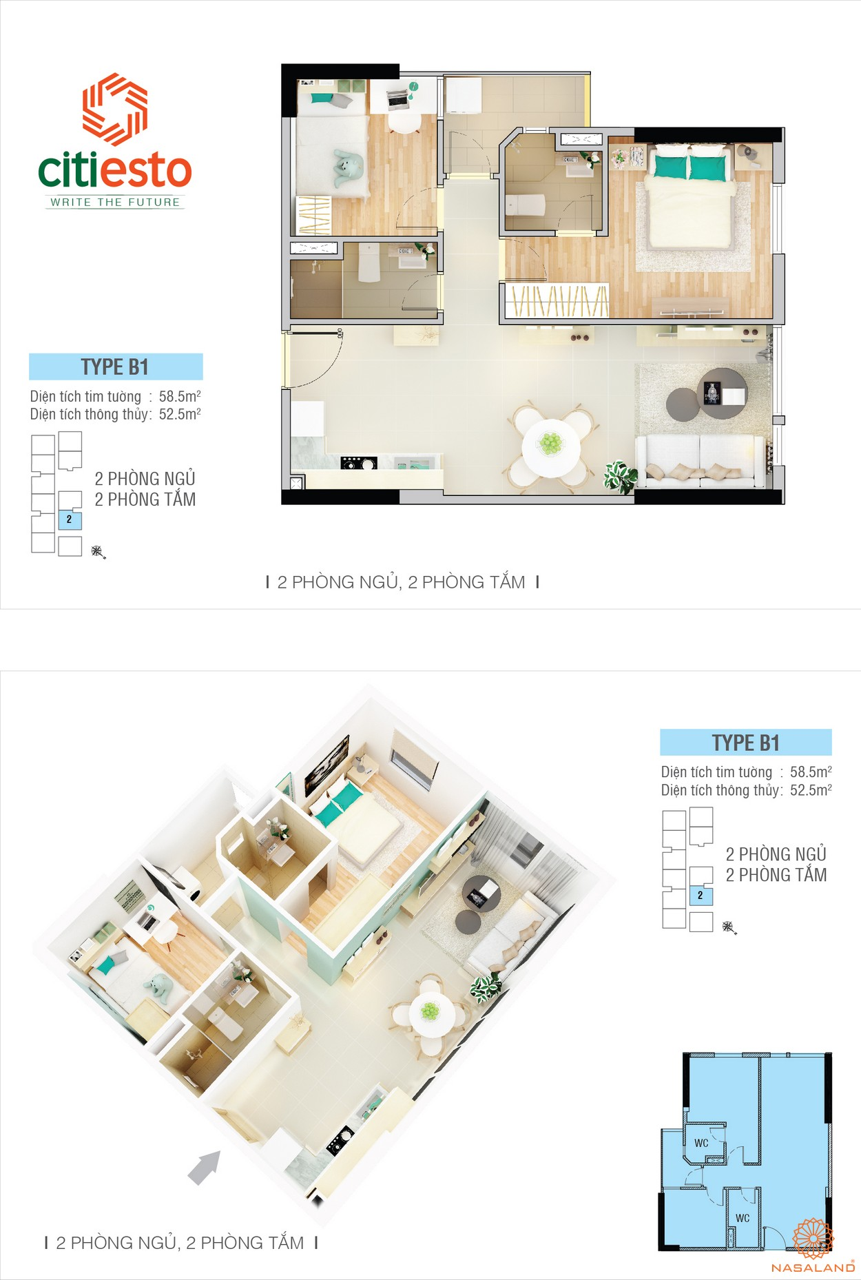 Thiết kế điển hình của căn hộ CitiEsto căn 2PN
