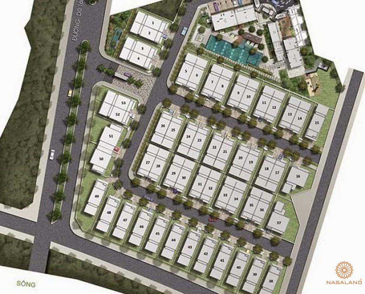 Mặt bằng dự án biệt thự, căn hộ The Garland Quận 9