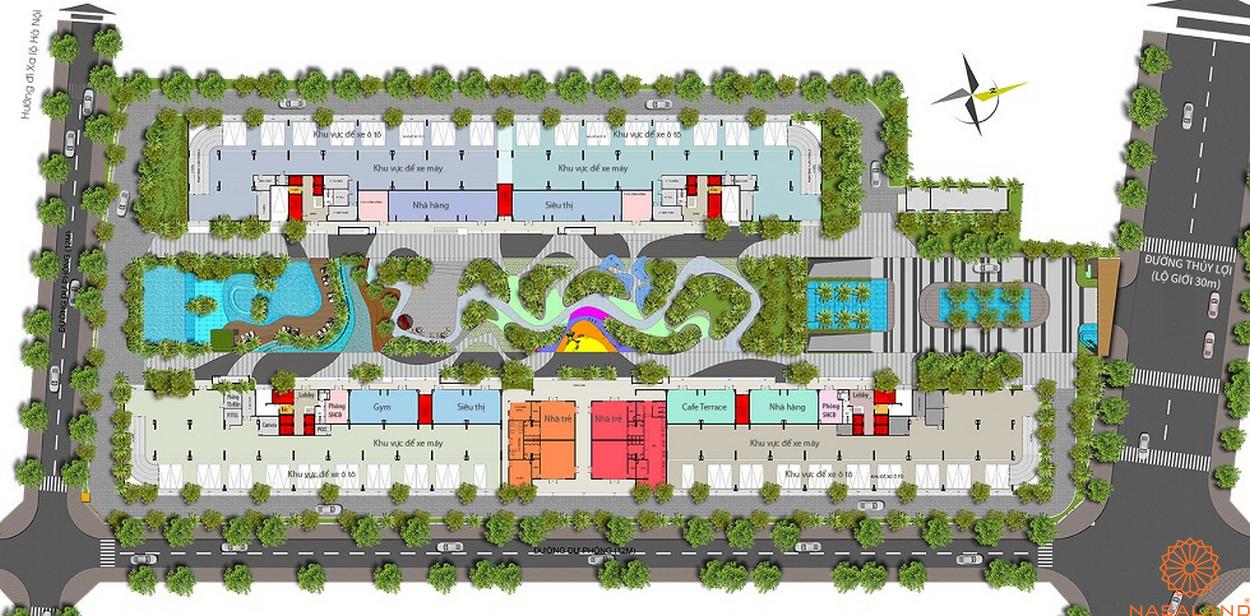 Mặt bằng dự án Him Lam Phú An - tầng 1