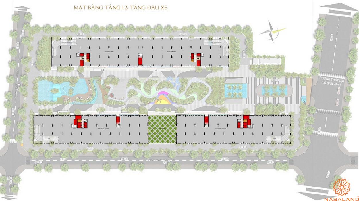Mặt bằng dự án Him Lam Phú An - tầng hầm