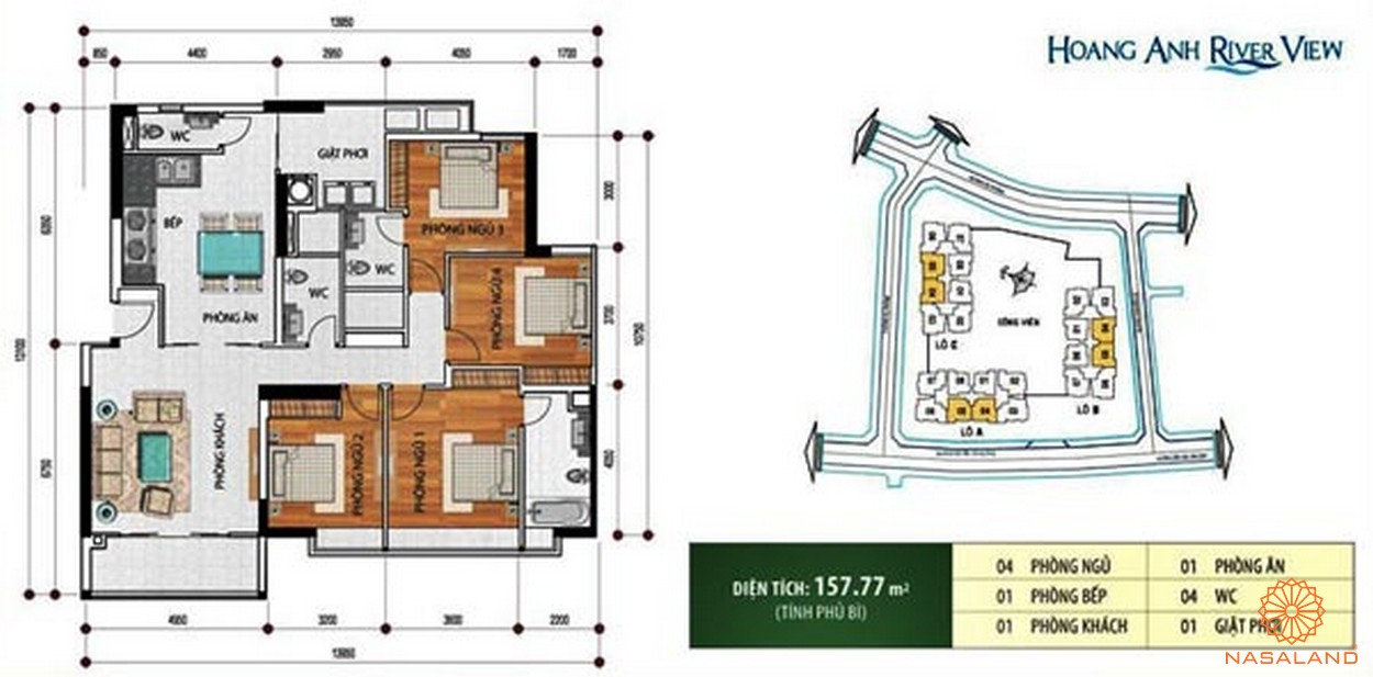Mặt bằng của dự án căn hộ Hoàng Anh Riverview Quận 2 đường 37 Nguyễn Văn Hưởng chủ đầu tư Hoàng Anh Gia Lai