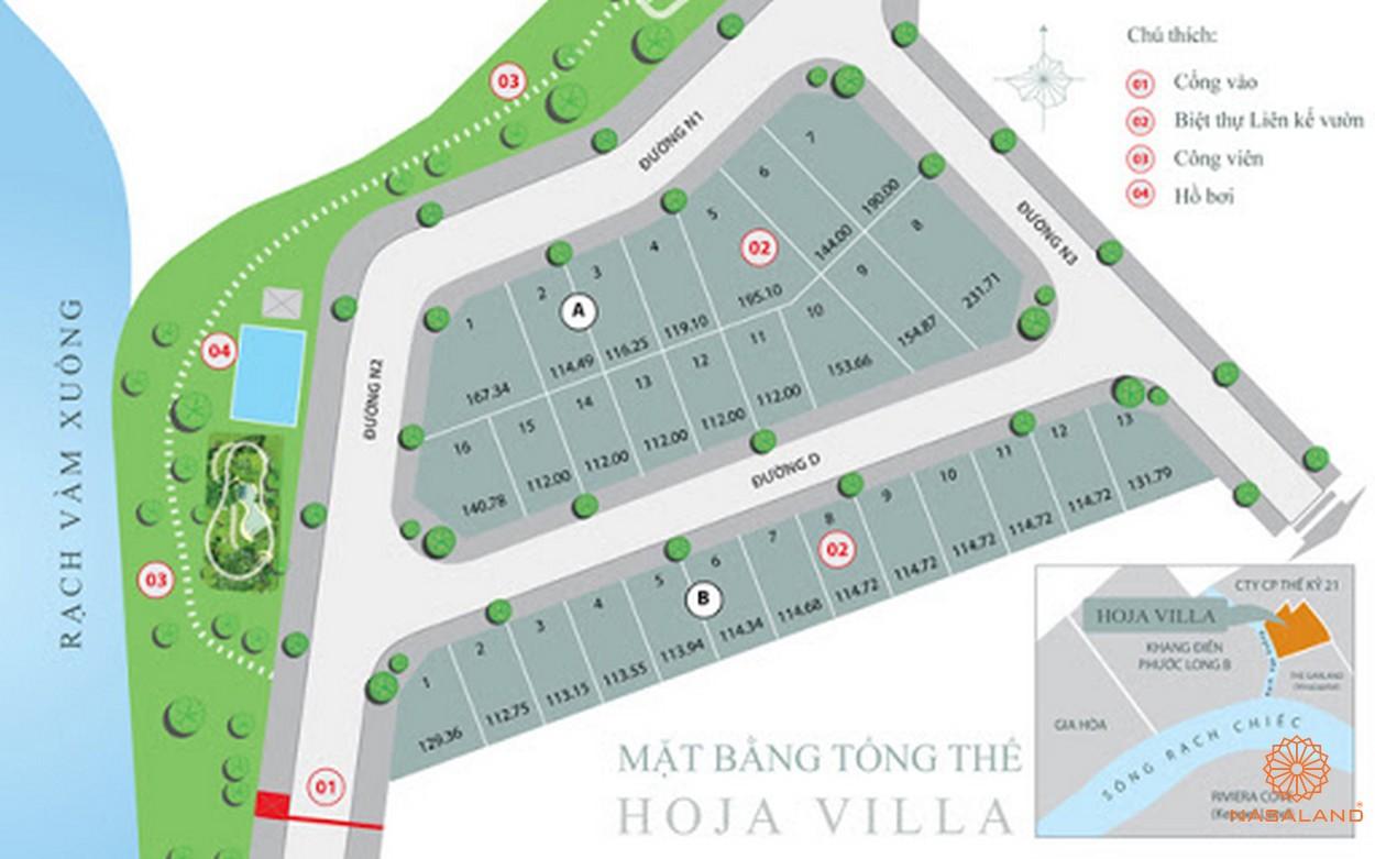 Mặt bằng tổng thể dự án biệt thự nhà phố Hoja Villa Quận 9