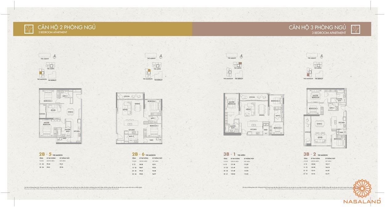 Mặt bằng dự án căn hộ Gateway Thảo Điền Quận 2 - 2 PN
