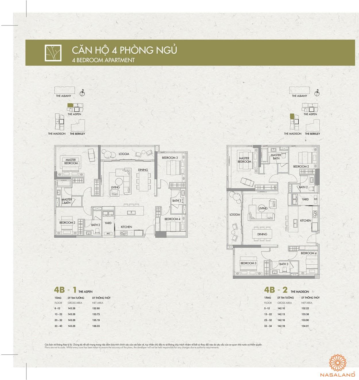 Mặt bằng dự án căn hộ Gateway Thảo Điền Quận 2 - 4 PN