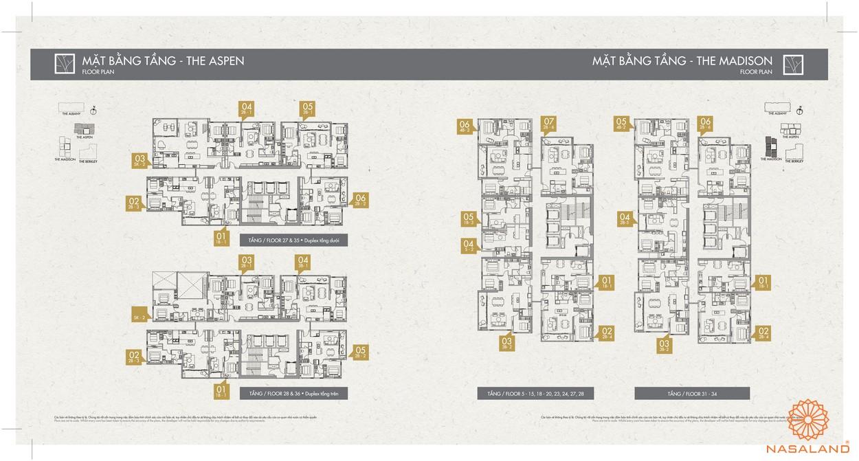 Mặt bằng toà The Apsen dự án căn hộ Gateway Thảo Điền Quận 2