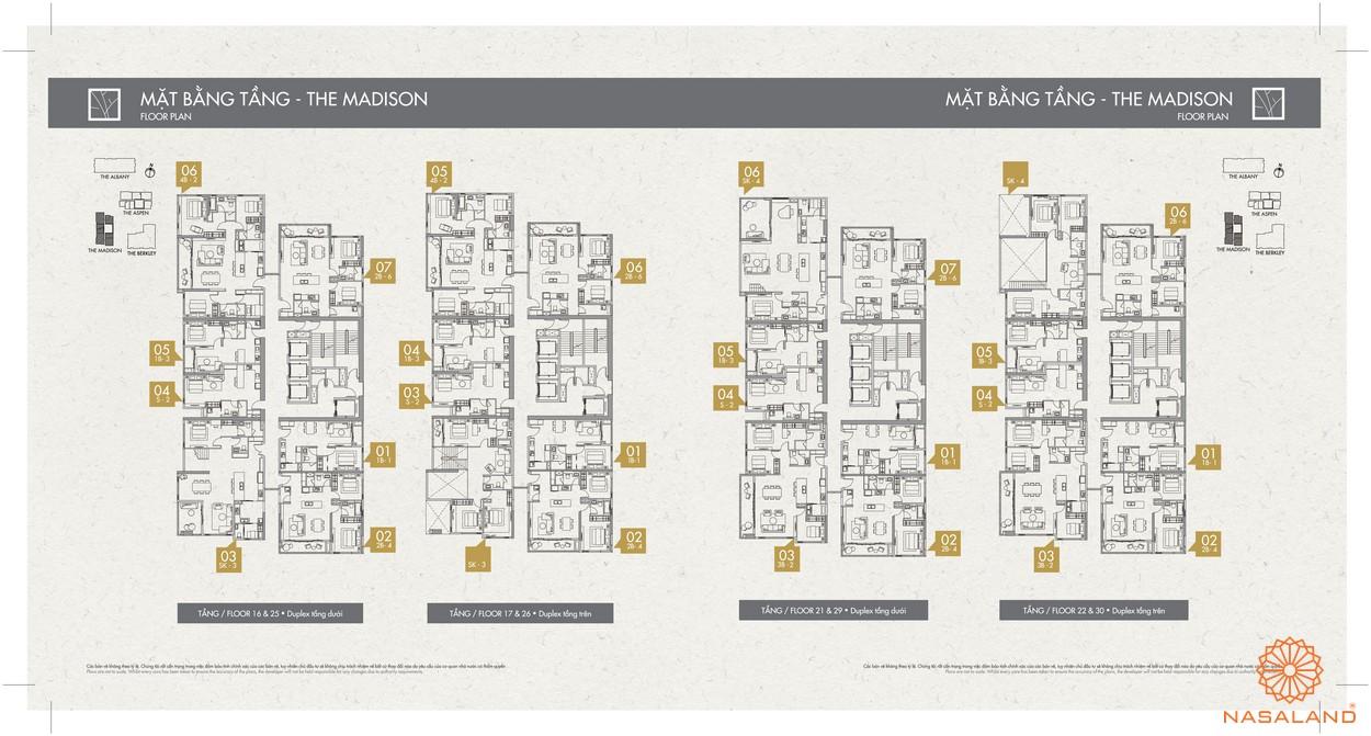 Mặt bằng toà The Madison dự án căn hộ Gateway Thảo Điền Quận 2