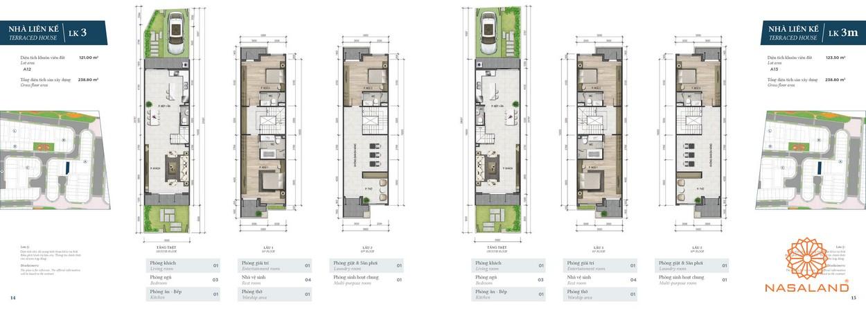 Mặt bằng nhà phố loại LK3 và LK3m tại phân khu Green dự án nhà phố Verosa Park Khang Điền Quận 9