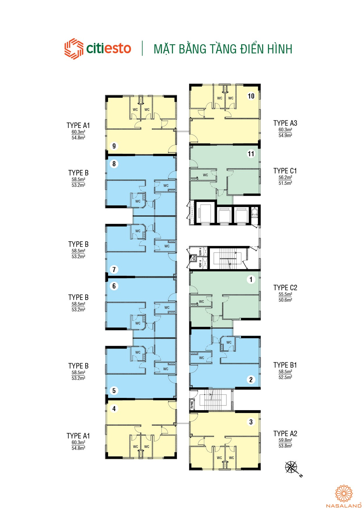 Mặt bằng tầng điển hình căn hộ CitiEsto