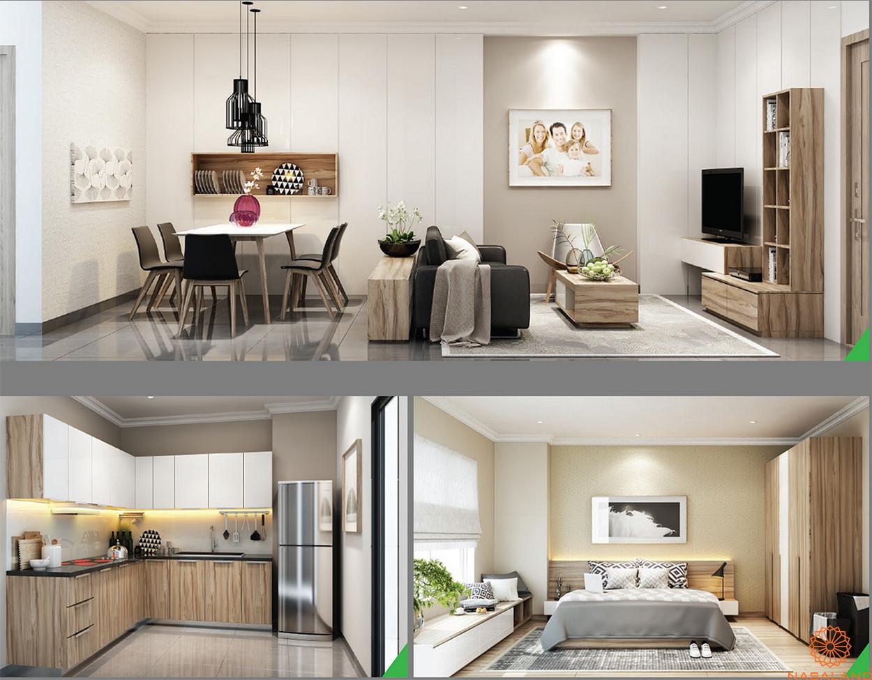 Thiết kế dự án nhà phố Sari Town quận 2 Thành phố Hồ Chí Minh - thiết kế chung phòng khách, phòng ngủ và phòng bếp