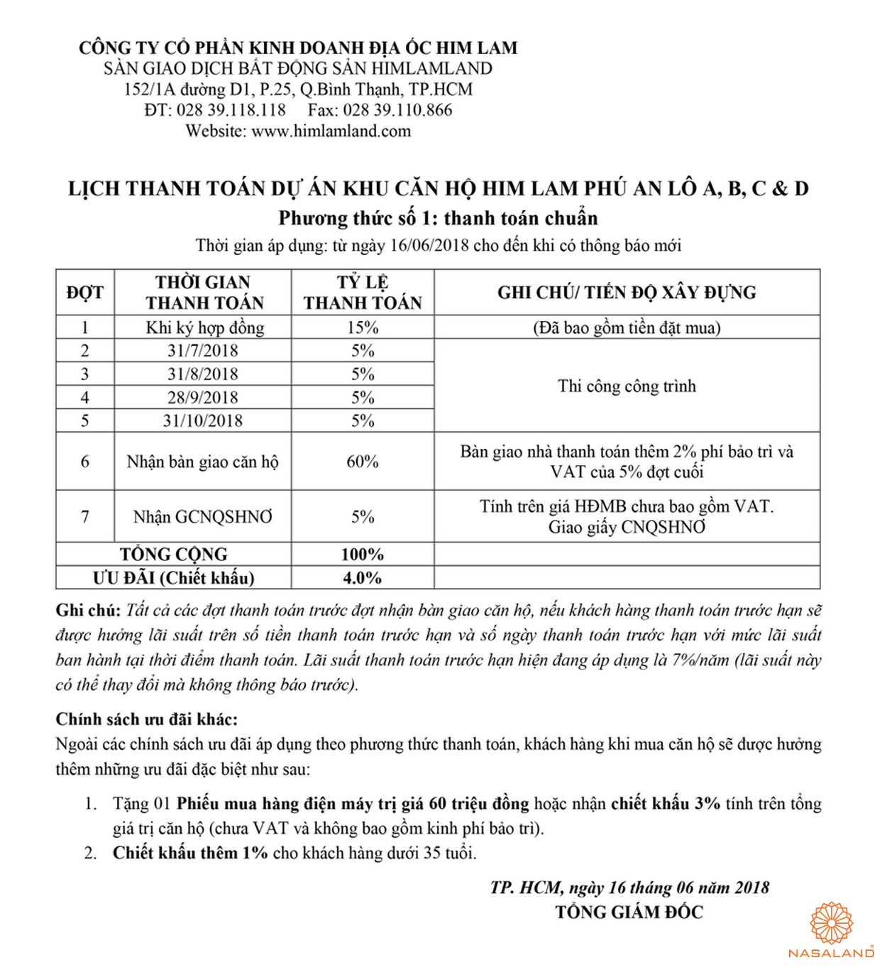 Thanh toán căn hộ Him Lam Phú An quận 9