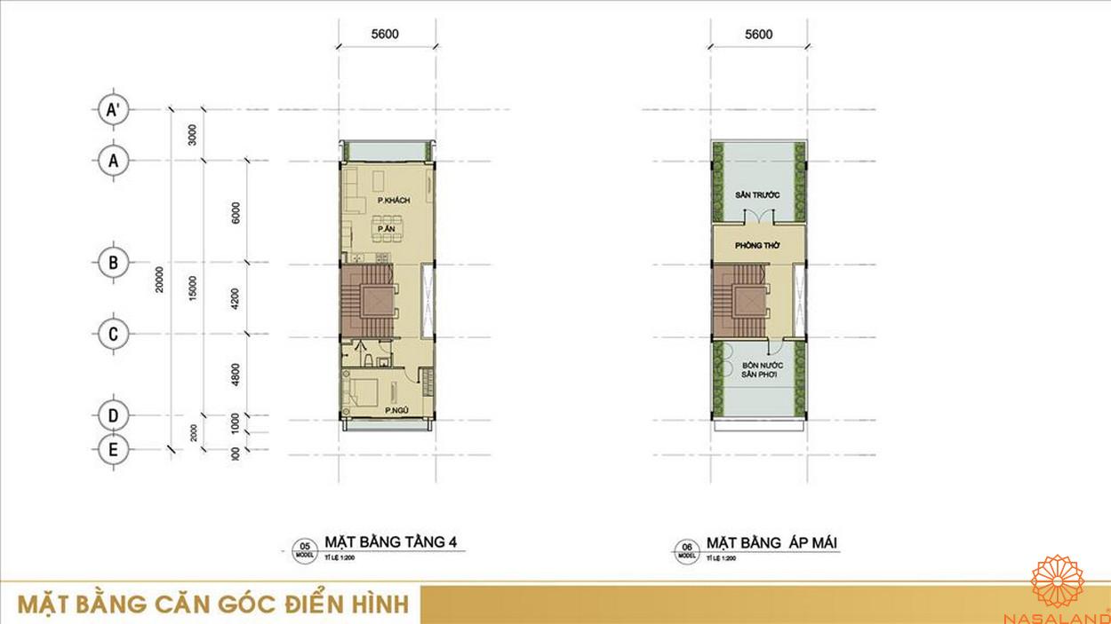 Mặt bằng căn góc điển hình dự án shophouse Sari Town quận 2 Thành phố Hồ Chí Minh