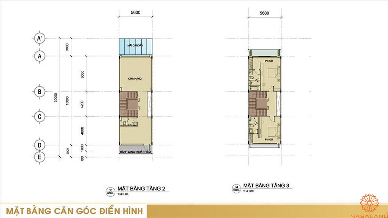 Thiết kế dự án nhà phố Sari Town quận 2 Thành phố Hồ Chí Minh - mặt bằng căn góc điển hình